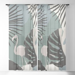 Minimal Flamingo Monstera Fan Palm Finesse #1 #tropical #decor #art #society6 Sheer Curtain