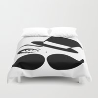 mustache Duvet Covers featuring mustache  by LCMedia