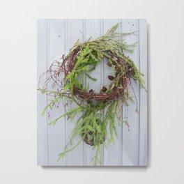 Rustic wreath on gray door Metal Print