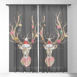 Christmas Deer 2 Sheer Curtain