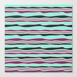 Geometrical mauve violet teal gray forest green stripes Canvas Print