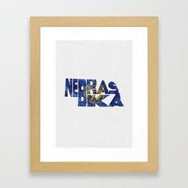 Nebraska Typographic Flag Map Art Framed Art Print