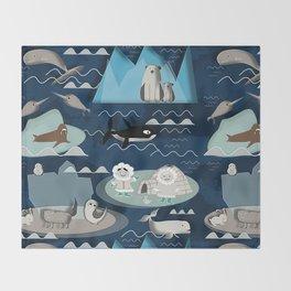 Arctic animals blue Throw Blanket
