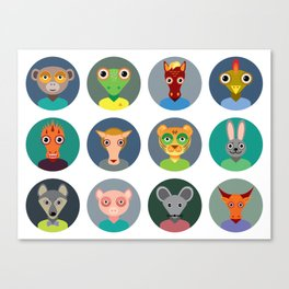 Chinese zodiac collection, Set of animals faces circle icons in Trendy Flat Style Canvas Print