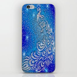 Sparkling Blue & White Peacock iPhone Skin