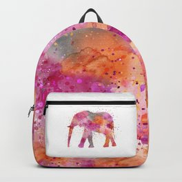 Artsy watercolor Elephant bright orange pink colors Backpack