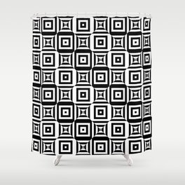 Op art pattern with checkered black white squares Shower Curtain