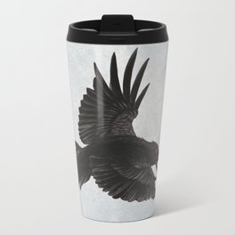 Black Crow Red Eyes and Sky Travel Mug