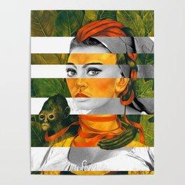 Frida Kahlo's Self Portrait with Monkey & Sophia Loren Poster