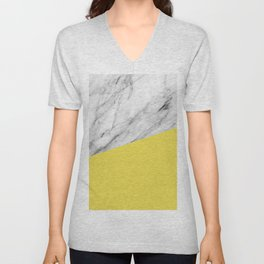 Marble with Meadowlark Yellow Color Unisex V-Neck