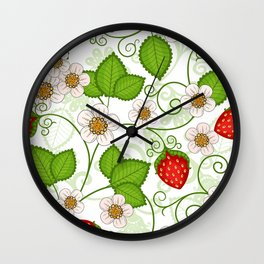 Strawberry fruit leaf flower floral star green red white Wall Clock