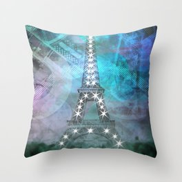 Illuminated Pop Art Eiffel Tower | Graphic Style Throw Pillow