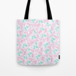 Blush pink turquoise white hand drawn watercolor flowers Tote Bag