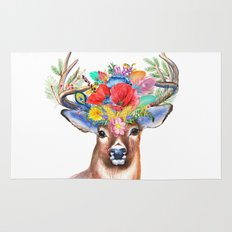 Watercolor Fairytale Stag With Crown Of Flowers Rug