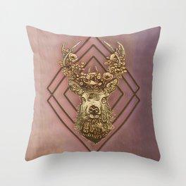 Rosegold deer Throw Pillow