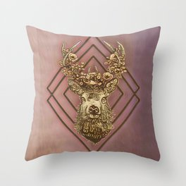Rosegold deer Throw Pillow