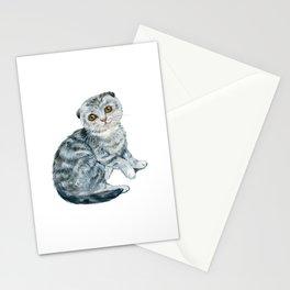 Cat, Animal Art, Cat Print, Sad Cat, Gray Cat Print, Kitten, Kitten Art, Funny Cat Stationery Cards
