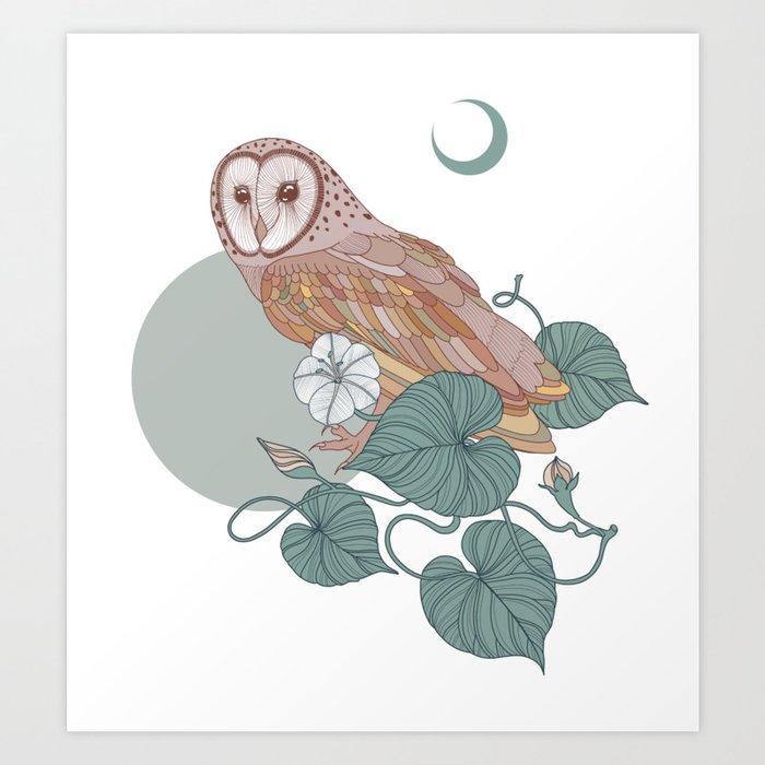 Pink Barn Owl Kunstdrucke