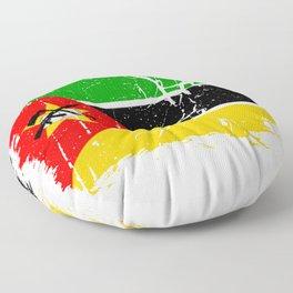 Distressed Mozambique Flag Graffiti Floor Pillow