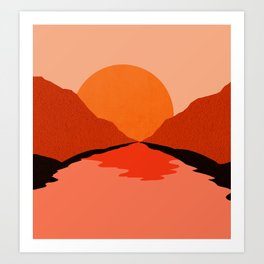 Abstraction_Sunset_Mountains_001 Art Print