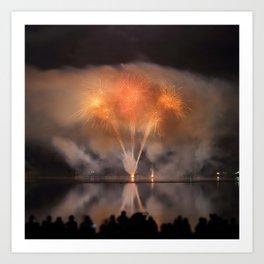 People watch Fireworks Display Art Print