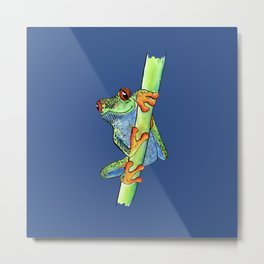 Kiss Me Frog - classic blue edition Metal Print