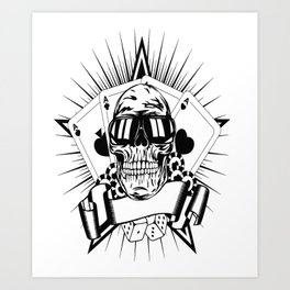 Aviator skull art, custom gift design Art Print