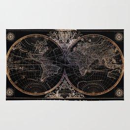 world map old vintage black Rug