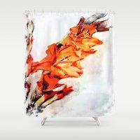 artsy Shower Curtains featuring gladioli Artsy by Artsy Arts By Rosanna.