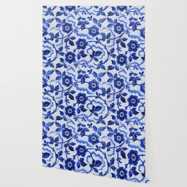 Azulejos blue floral pattern Wallpaper