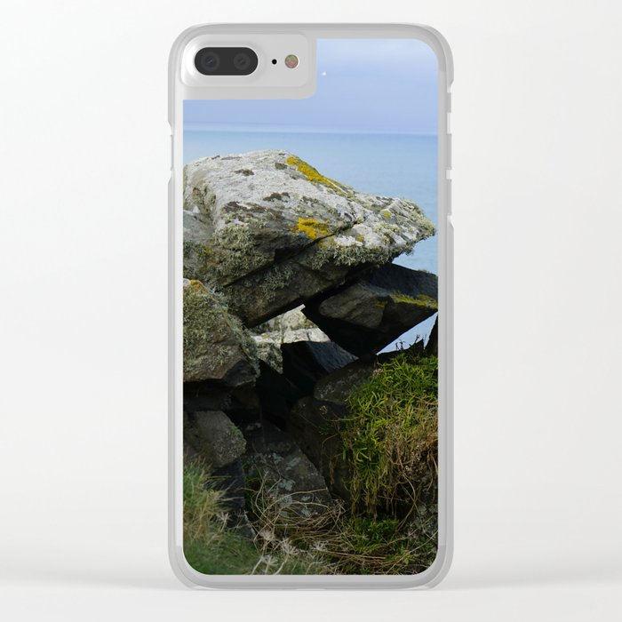 Lichen Covered Rocks in Front of the Blue Horizon Clear iPhone Case