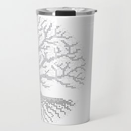 Pixel Art - Cross Stitch Chart - Grey Tree of Life - Travel Mug