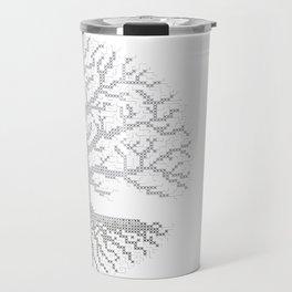 Pixel Art - Cross Stitch Chart - Grey Tree of Life - Travel Mug