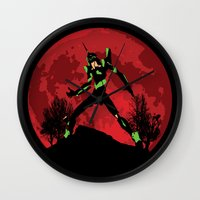 evangelion Wall Clocks featuring Neon Genesis Evangelion Unit 01 - Hill Top by kamonkey