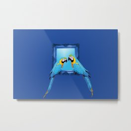 macaw Bird sitting on frame blue Metal Print