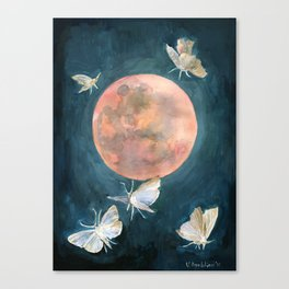 Drop of Red, Blood Full Moon, Night Sky Canvas Print