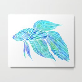 Blue Beta Fish - ocean, sea, beach, watercolor Metal Print