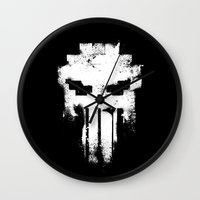 punisher Wall Clocks featuring Space Punisher by RicoMambo