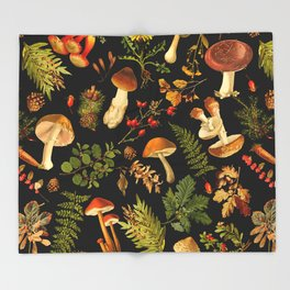 Vintage & Shabby Chic - Autumn Harvest Black Throw Blanket