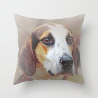 the hound Throw Pillows featuring Hound dog by Doug McRae