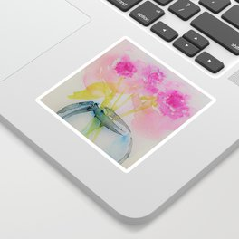 Pink Flowers In The Vase Sticker