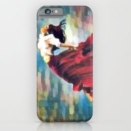 Freedom, woman in red liberation inspirational portrait painting iPhone Case