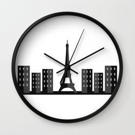 paris skyline Wall Clock
