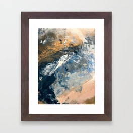Wander [3]: a vibrant, colorful abstract in blues, pink, white, and gold Framed Art Print