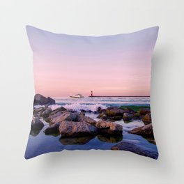 Water landscape in the evening light Throw Pillow