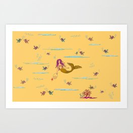 Fashionable mermaid - yellow-orange Art Print