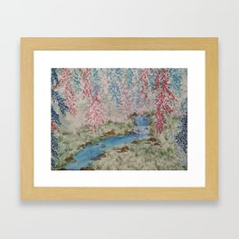 Willows & Waterfall Framed Art Print
