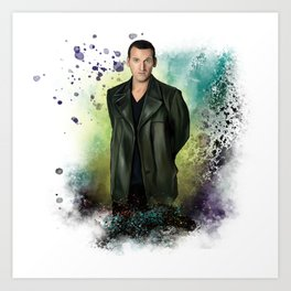 The Ninth Doctor, oil on watercolor Art Print