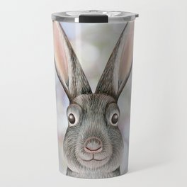 rabbit woodland animal portrait Travel Mug