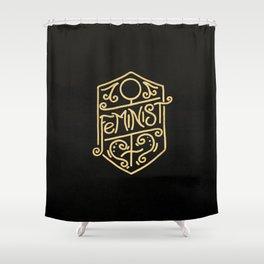 Feminist Art Nouveau Gold & Black Hand Drawn Illustration Shower Curtain